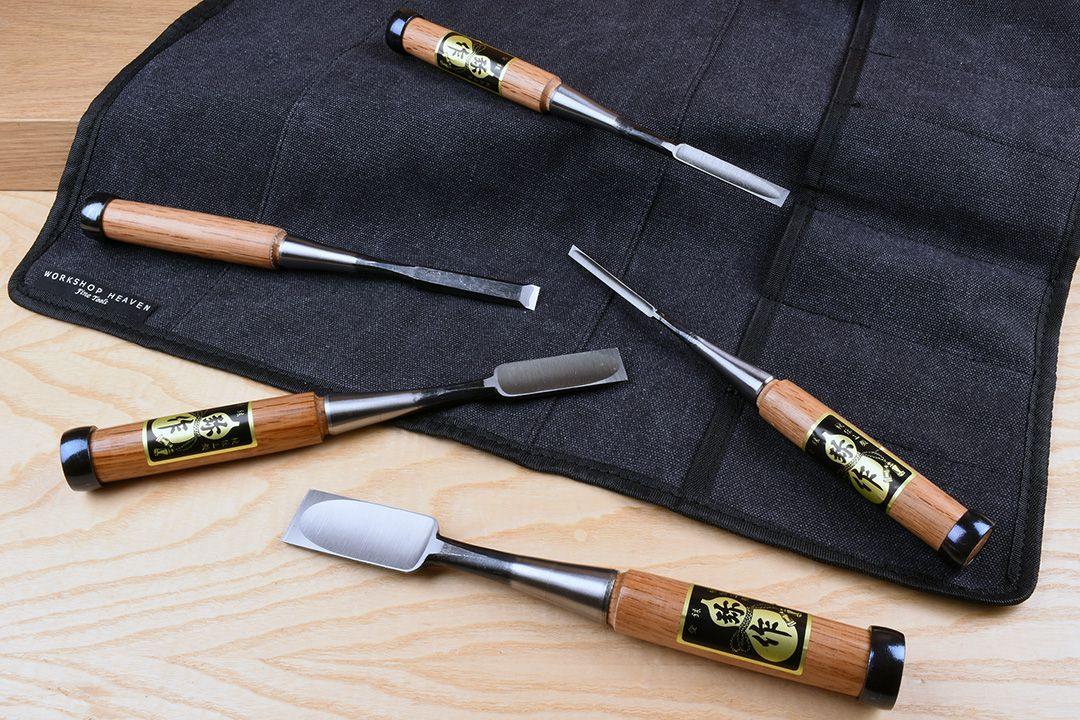 Fujikawa Professional Oire Nomi Japanese Chisel Set of 5 with tool roll