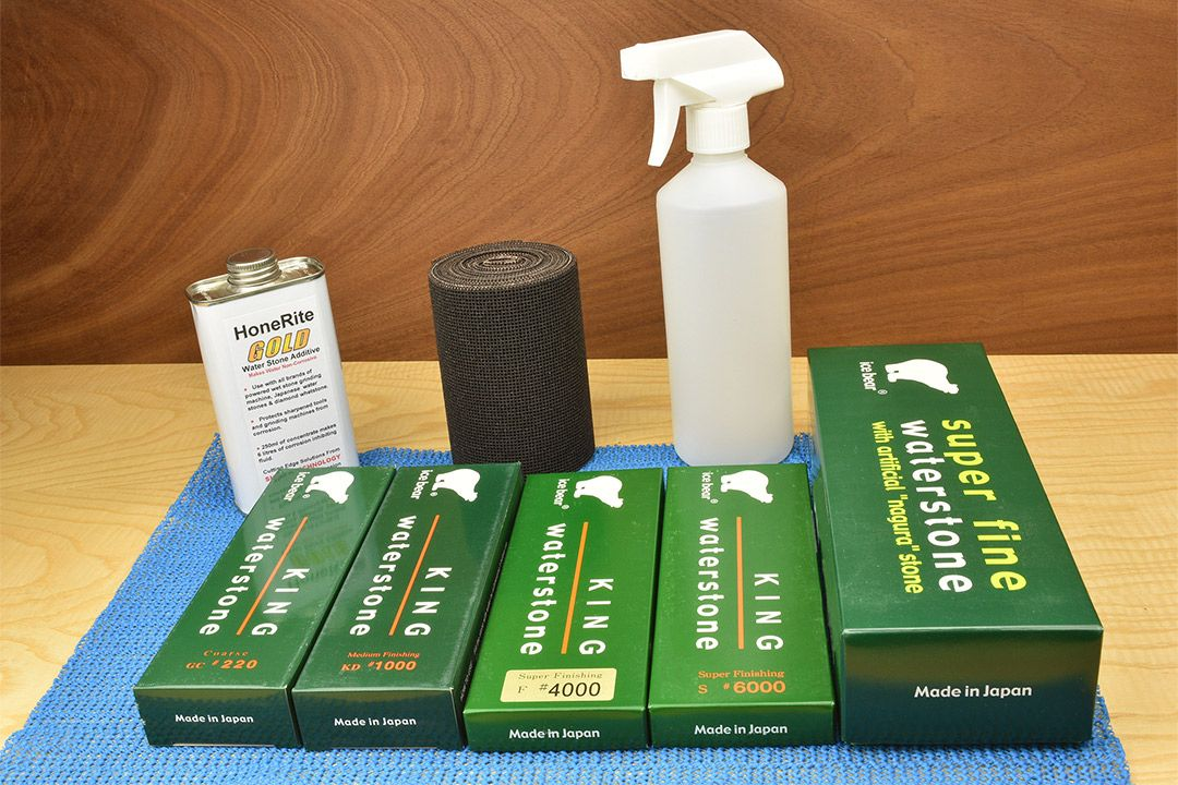 Deluxe Waterstone Sharpening Kit with bottle