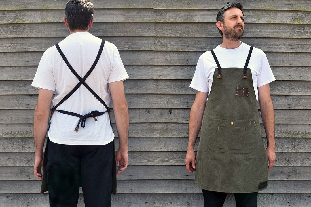 Kingham Waxed Canvas and Leather Apron - Moss Green