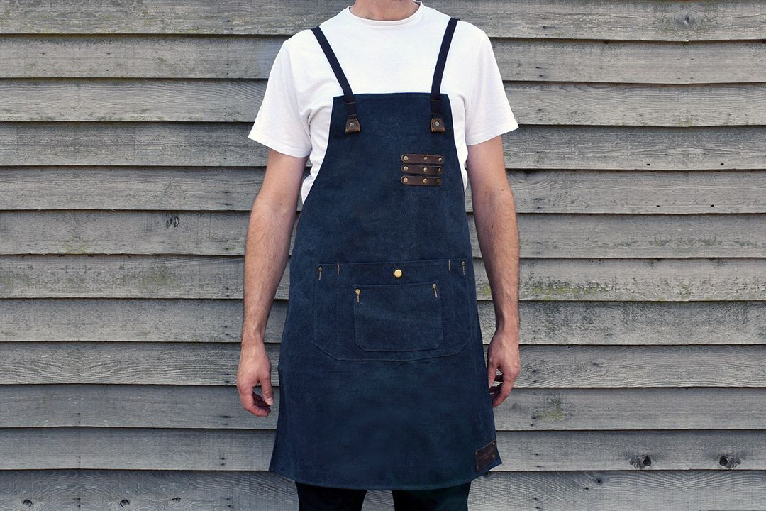 Kingham Waxed Canvas and Leather Apron front only