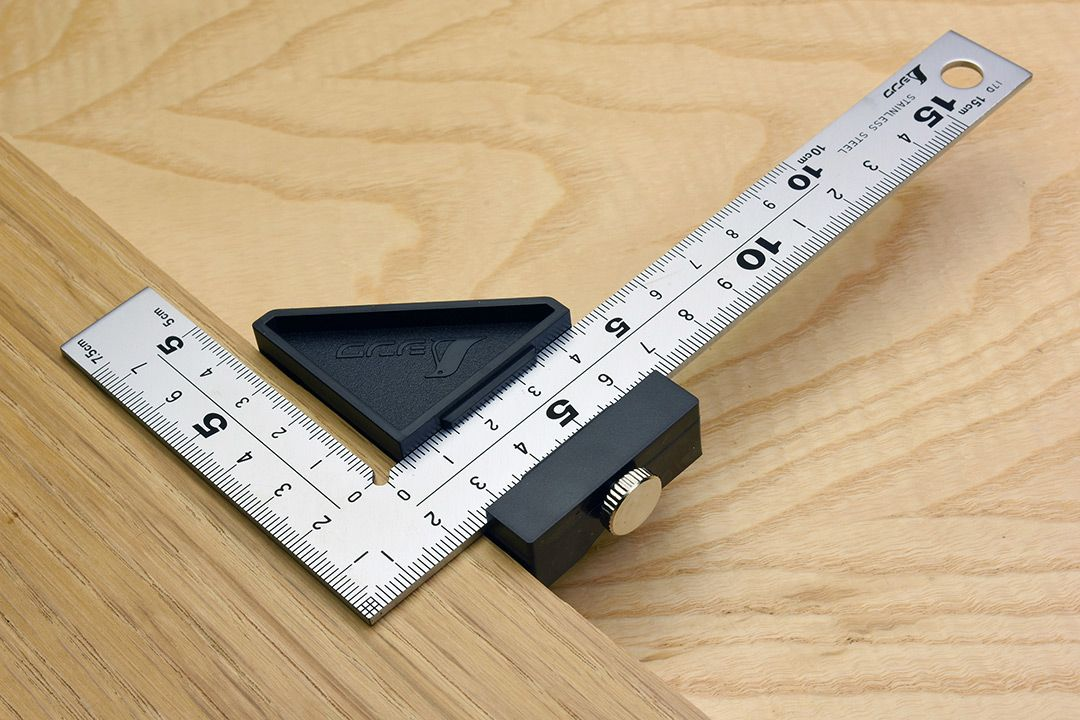 Shinwa Carpenter's Square, Hard Chrome Finish with Stopper 150mm with 8 Scales