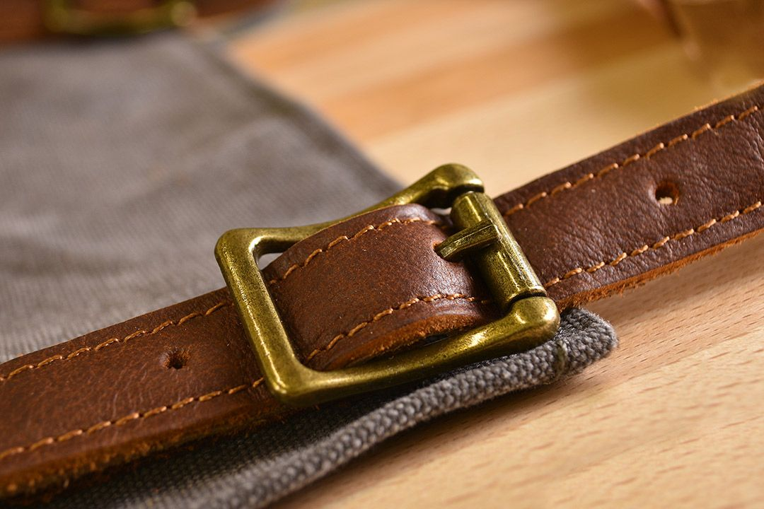 Upton Waxed Canvas and Leather Apron - Grey buckle