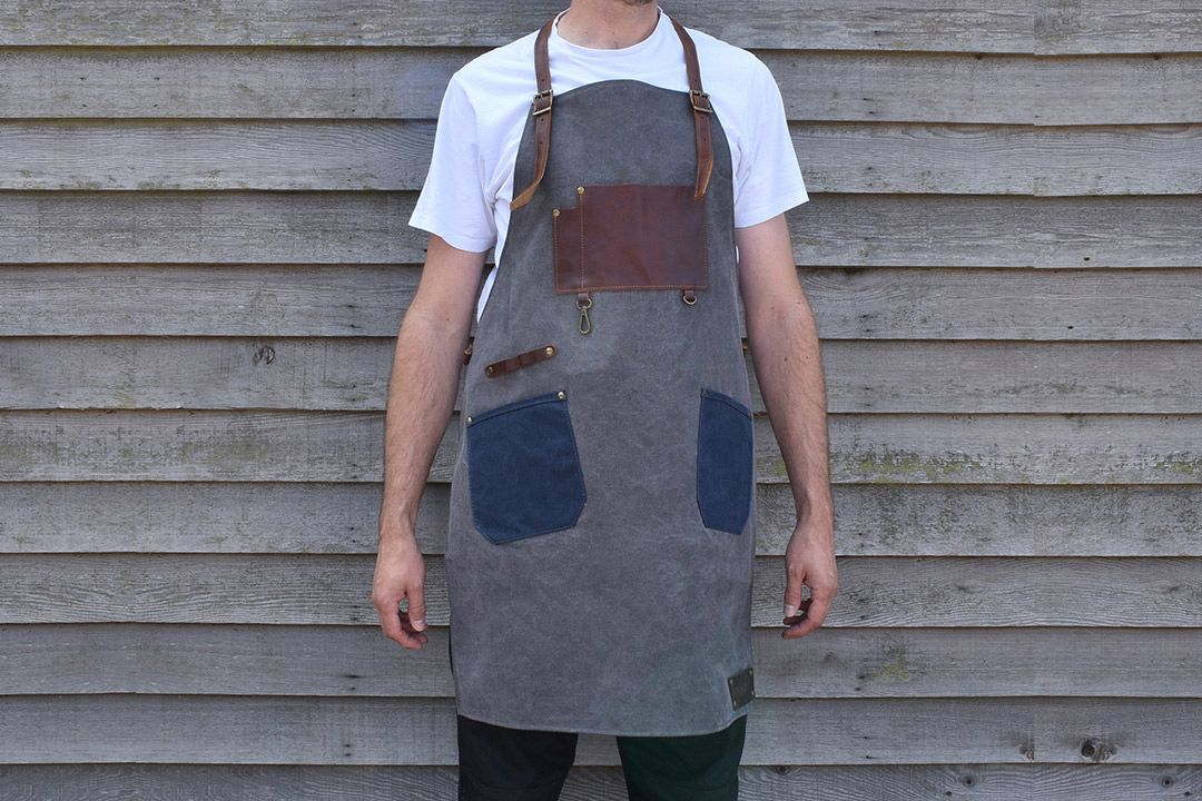Upton Waxed Canvas and Leather Apron - Grey