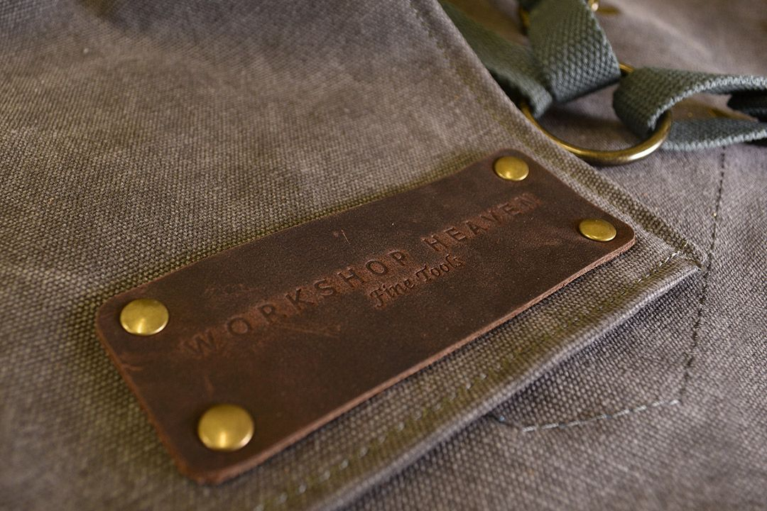 Upton Waxed Canvas and Leather Apron - Grey logo
