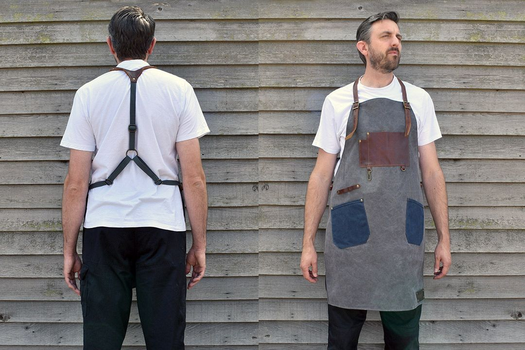 Upton Waxed Canvas and Leather Apron - Grey front and back